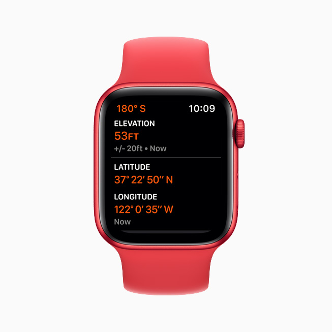 Ground elevation displayed on the Apple Watch Series 6.