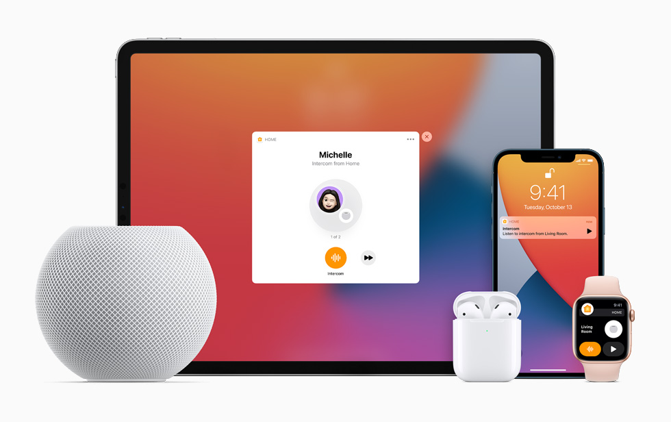 The Intercom feature demonstrated with HomePod mini, iPad Pro, Apple Watch Series 6, AirPods, and iPhone 12.