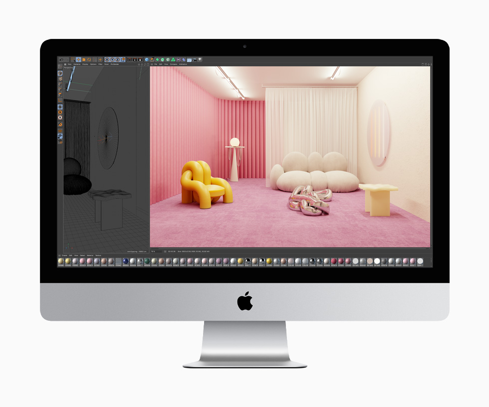 Created using Cinema 4D, two images, one of a sketch of a furnished room and the other a full-colour rendering of that same room, show off the rich graphics capabilities of the 27-inch iMac.
