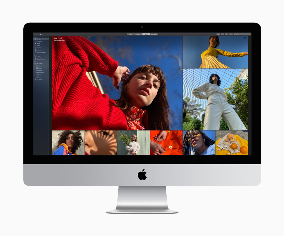 A woman in a red sweater and blouse and another in a yellow top and pleated skirt are among the nine richly coloured photographs that demonstrate the vibrant image quality available on the 27-inch iMac.