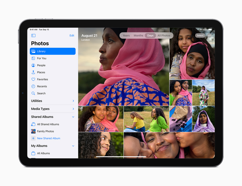 iPad Air showing the Photos app.