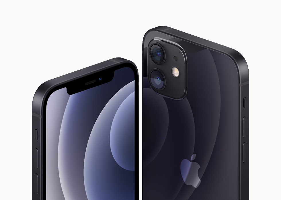 iPhone 12 and iPhone 12 mini in the black aluminium finish.