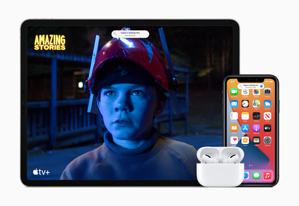 iPhone 11 Pro, and iPad Pro showing Apple original Amazing Stories in Apple TV+ with AirPods Pro.