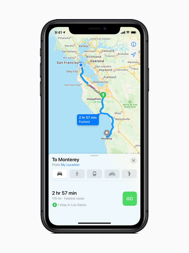 An electric vehicle route in the Maps app in iOS 14.
