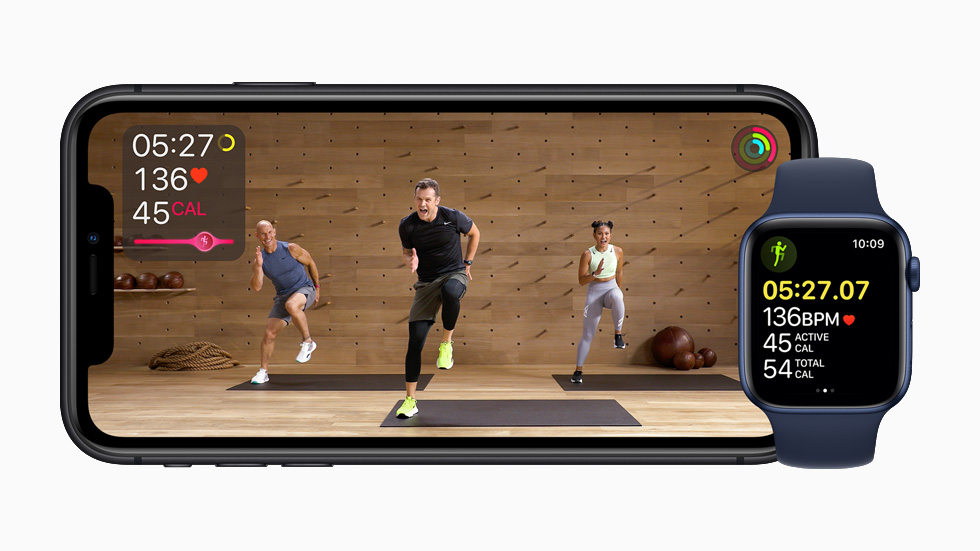 La clase de estudio Apple Fitness + se muestra en el iPhone 11 Pro.