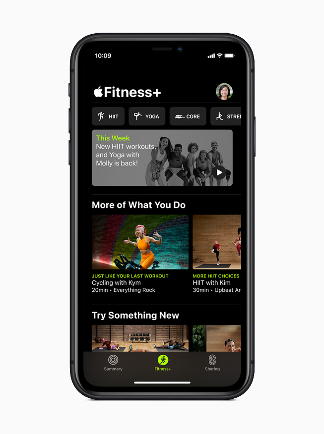 Pantalla de inicio de Apple Fitness + en el iPhone 11 Pro.