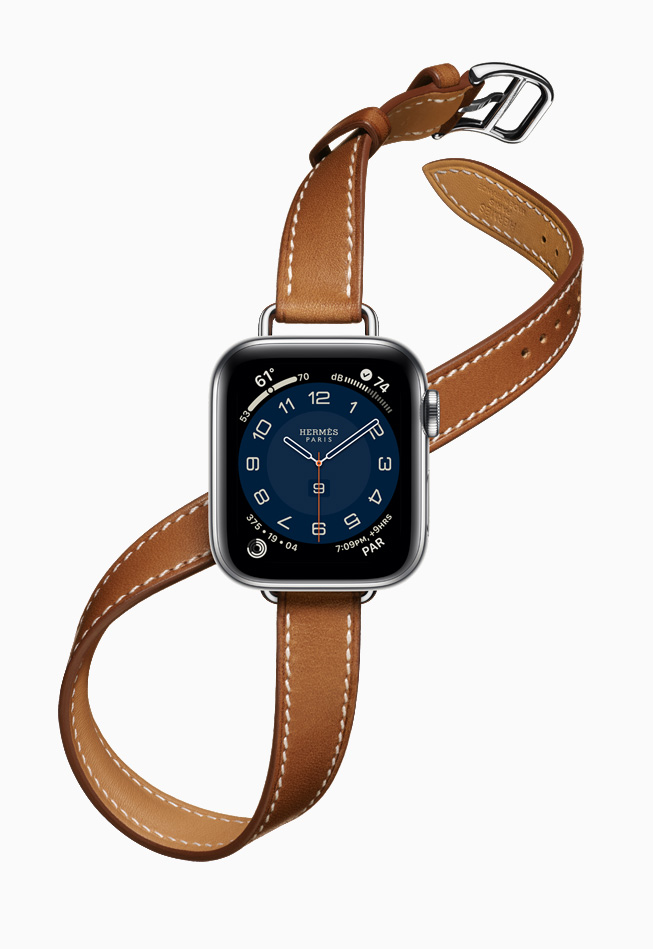 Apple Watch Hermès con la nueva correa Attelage Double Tour más delgada.