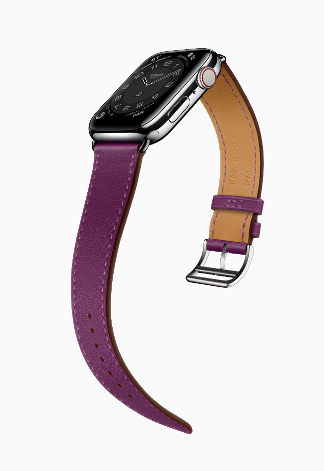 Apple Watch Hermès con correa morada.