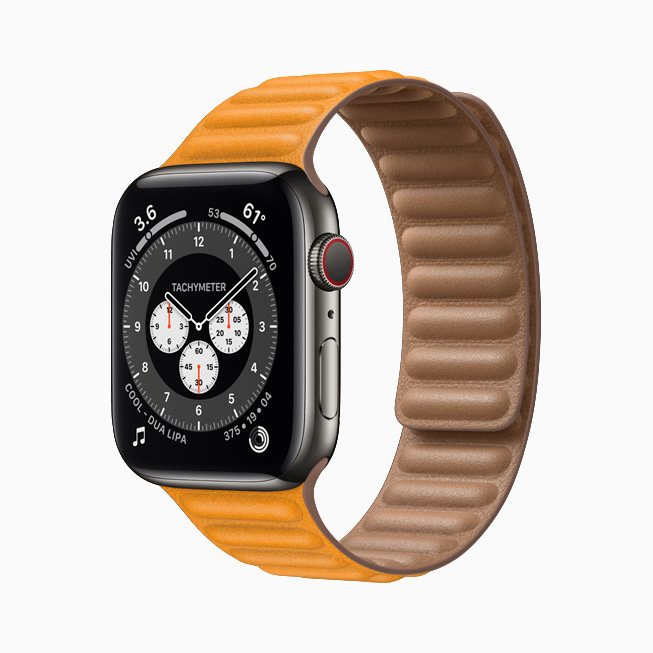 Apple Watch Series 6 con caja de acero inoxidable grafito.