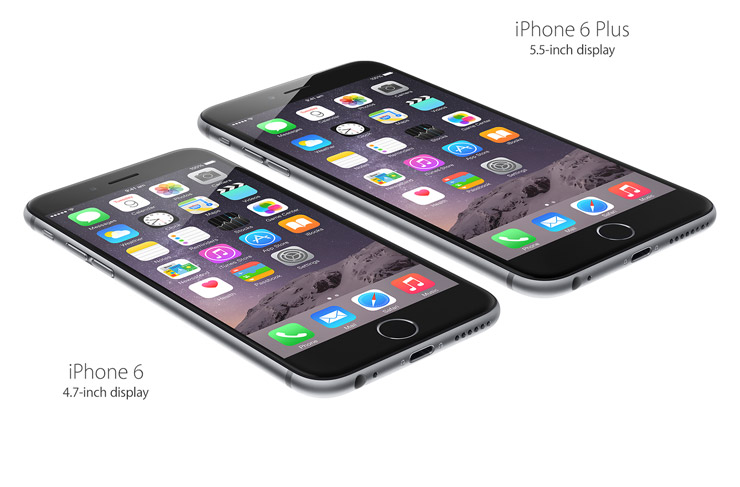 iPhone 6 Plus: 5.5-inch display. iPhone 6: 4.7-inch display.