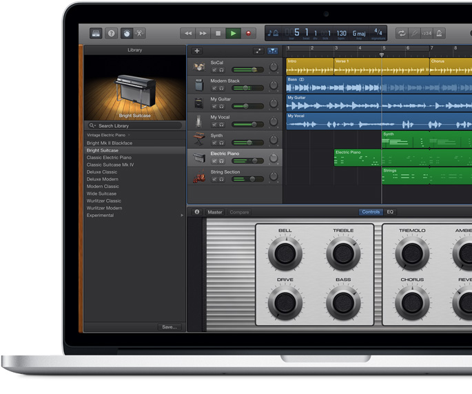 MacBook Pro showing a GarageBand screen of a song being composed.