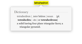 Screenshot of the word 'Tetrahedron' with dictionary entry.