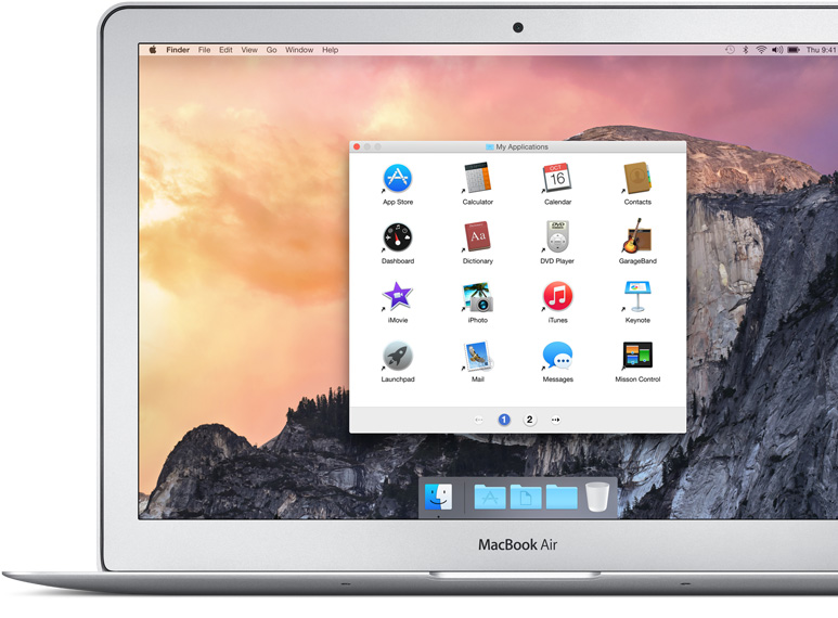 MacBook Air showing Finder displaying Simple Finder with easily recognised icons for applications like GarageBand and iPhoto.