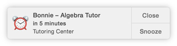 "Symbool van Agenda-melding: ""Bonnie - Algebra Tutor in 5 minutes, Tutoring Center"", en de sluit- en snoozeknop."