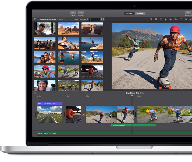 MacBook Pro showing the Events screen in iPhoto.