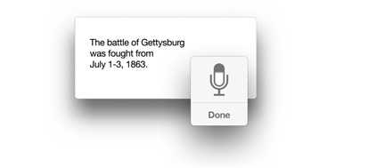 Icône du microphone avec le texte « The battle of Gettysburg was fought from July 1-3, 1863 ».