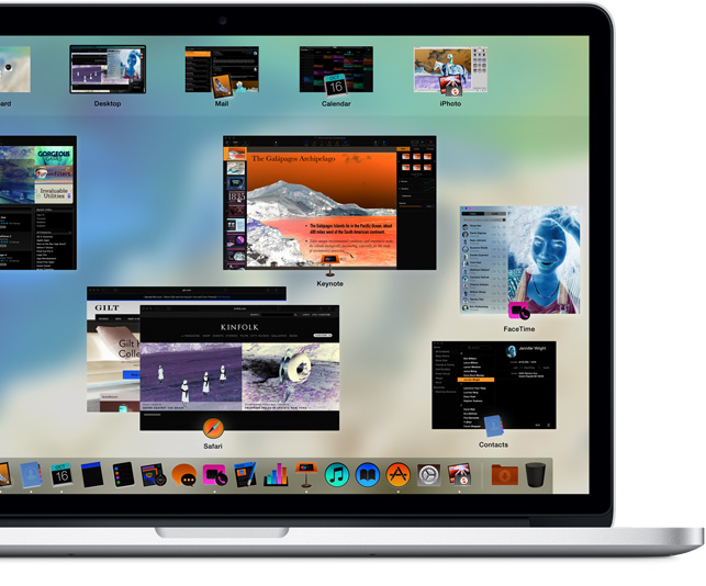 MacBook Pro showing the colours of the screen being reversed to improve readability.