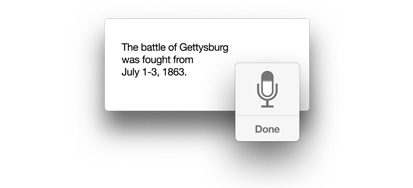 Microphone icon with 'The battle of Gettysburg was fought from July 1-3, 1863.' text.