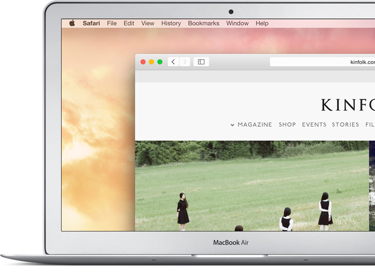 MacBook Air showing a website navigation bar enlarged.