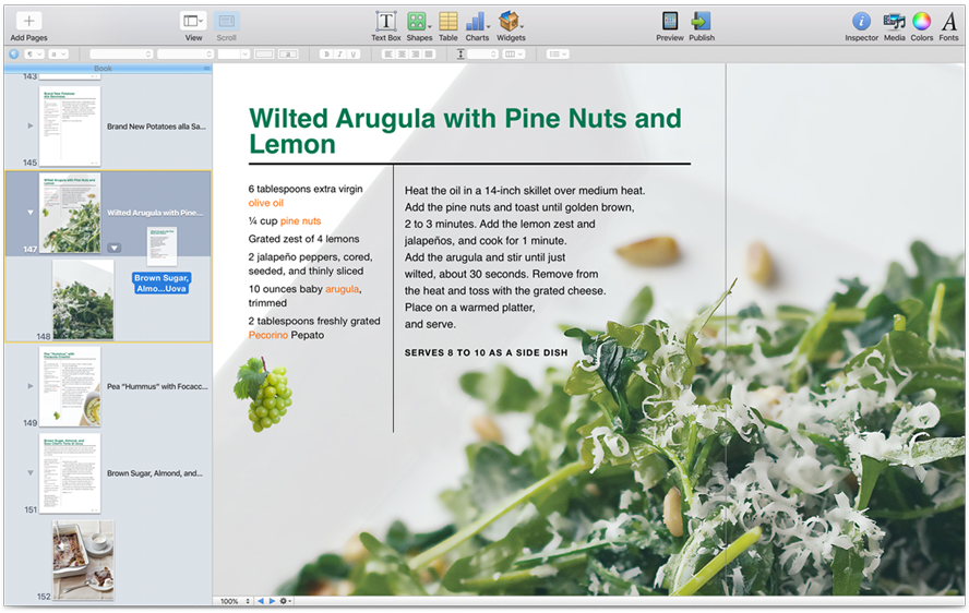 Ibooks author apple se for Cookbook template mac