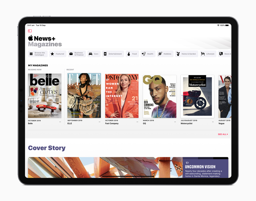 iPad showing Apple News+ screen.