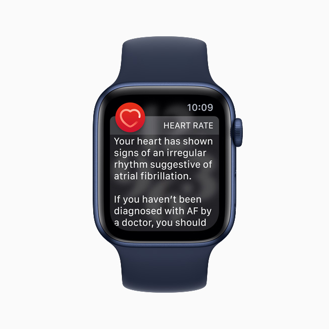 The heart-rate notification screen displayed on Apple Watch Series 6.