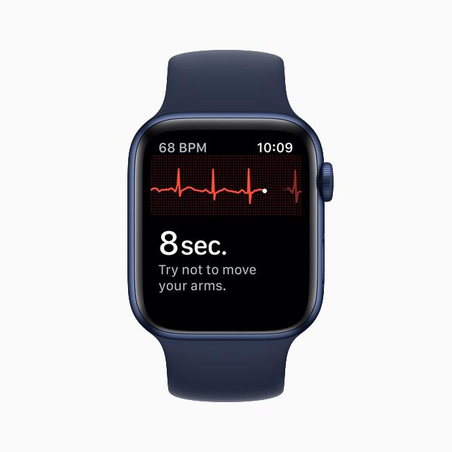 The ECG app interface on Apple Watch Series 6.