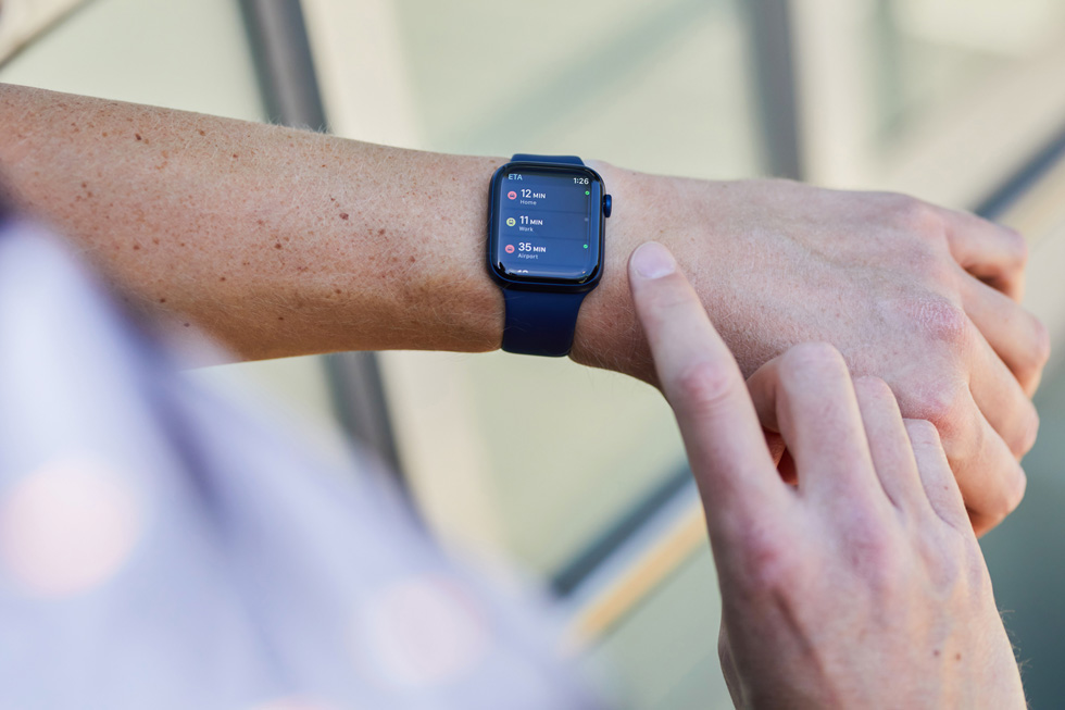 The ETA app, displayed on Apple Watch Series 6.