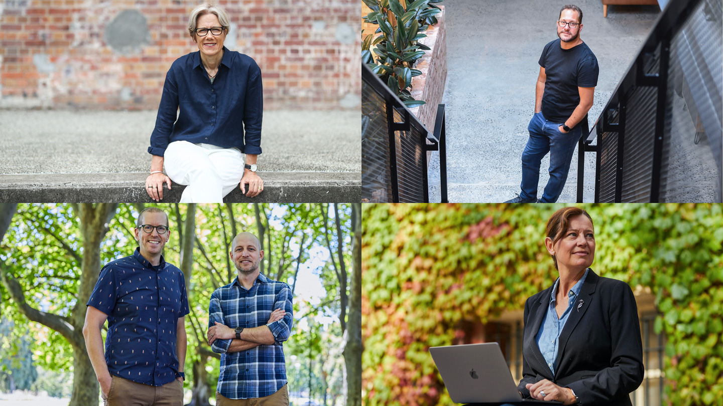 Four photo grid of Kathryn Donaldson, James Cuda, Helen Souness, and Anthony Harrison and Justin Almering.