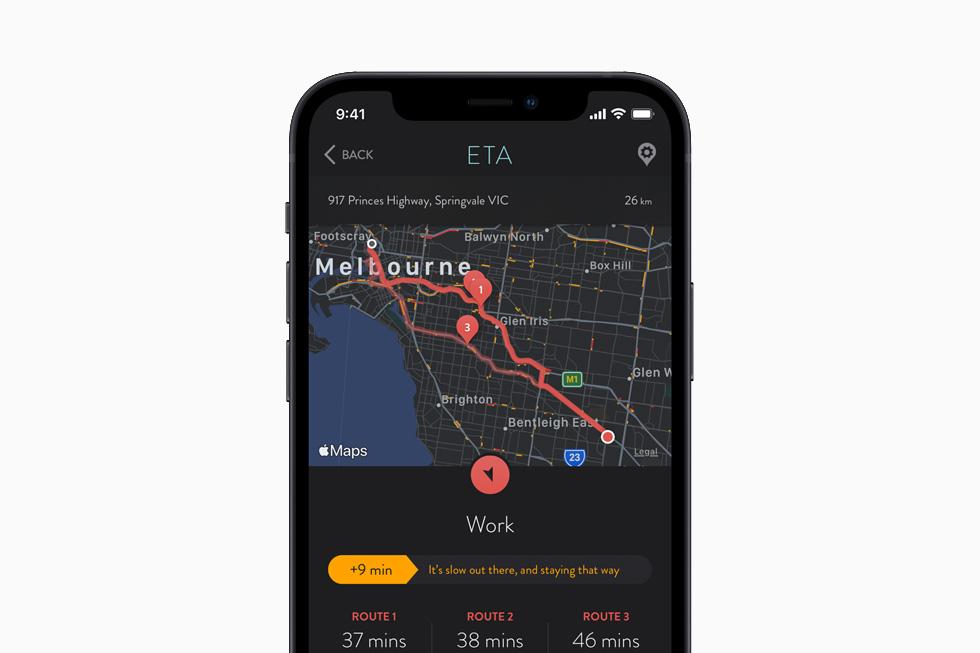 The ETA app, displayed on iPhone 12.