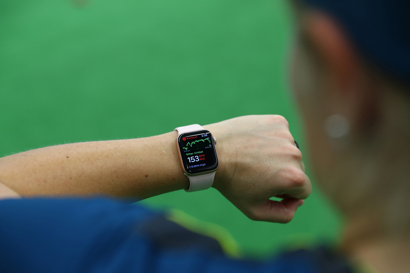 Australia Women's Cricket Team player wearing Apple Watch.