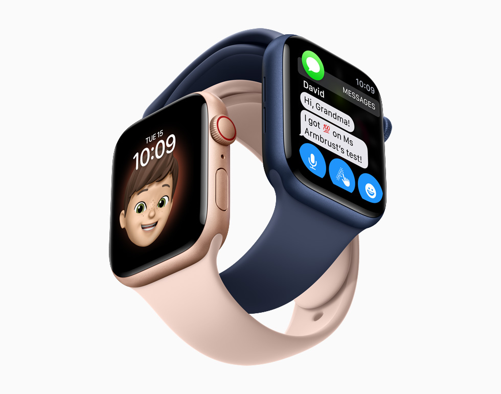 Messages and Memoji on Apple Watch Series 6.