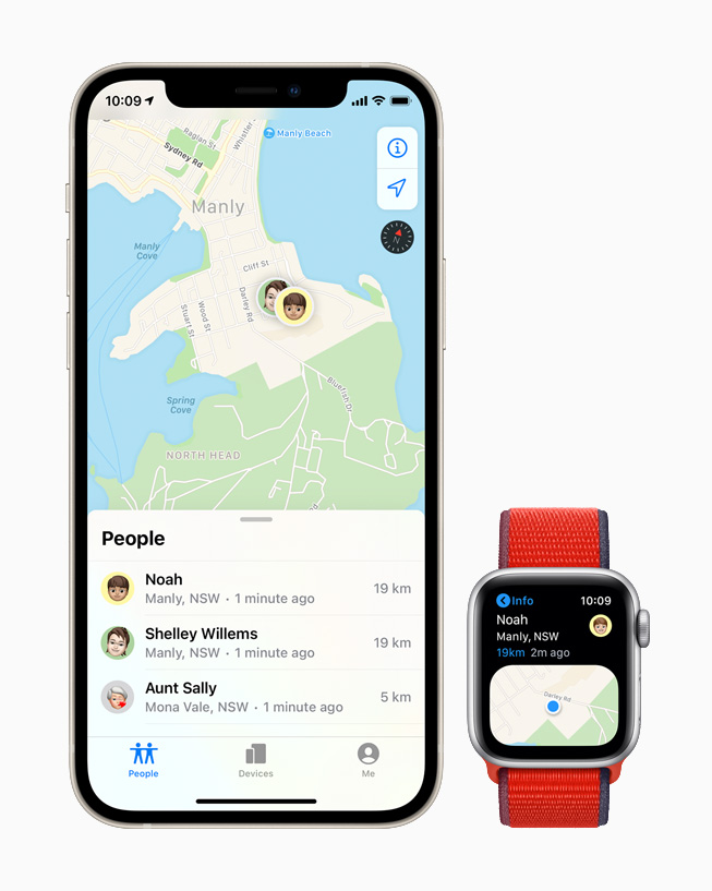 The Find People app on Apple Watch and Maps on iPhone.