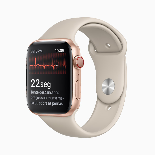 Interface do app ECG no Apple Watch.