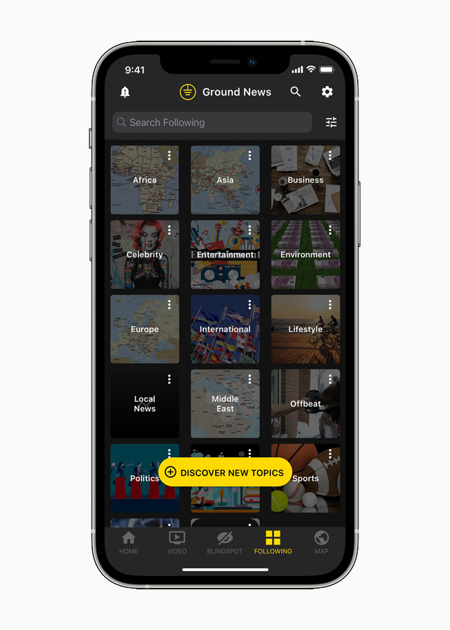 Ground News displayed on iPhone 12 Pro.