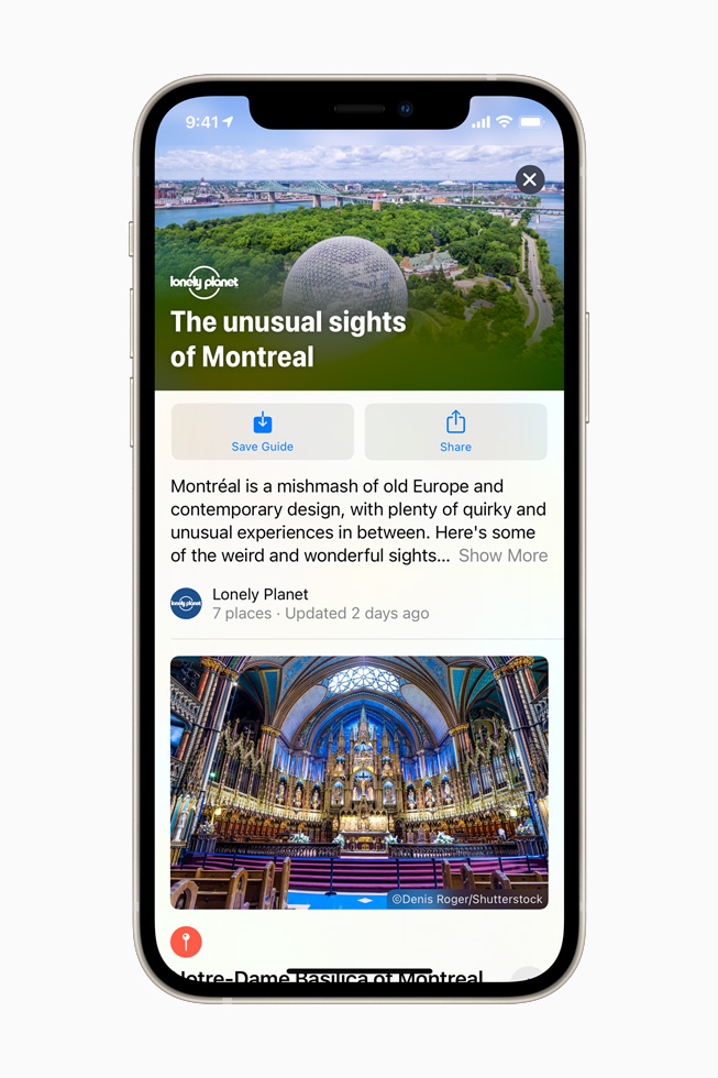 Lonely Planet Guide for Montreal in Apple Maps on iPhone 12.