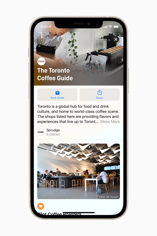 A Sprudge Guide for Toronto in Apple Maps on iPhone 12.