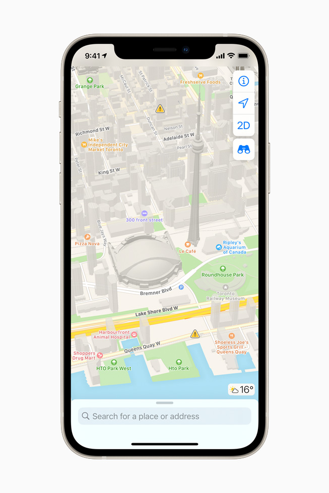 The redesigned Apple Maps on iPhone 12.