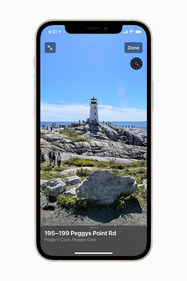 Look Around feature showing Peggy's Cove on iPhone 12.