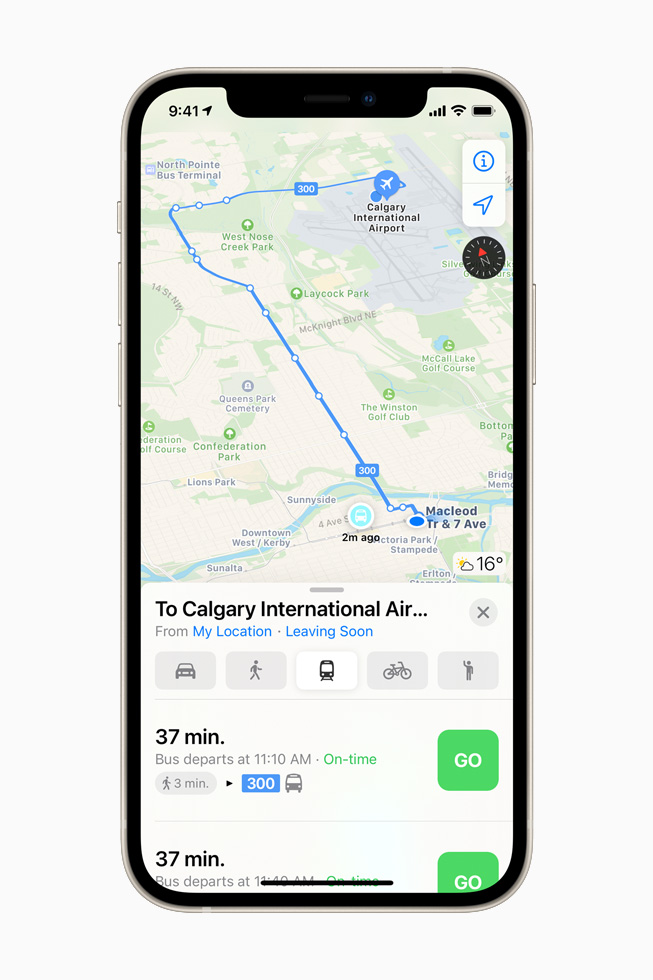 Real-time transit bus route to Calgary International Airport in Apple Maps on iPhone 12.