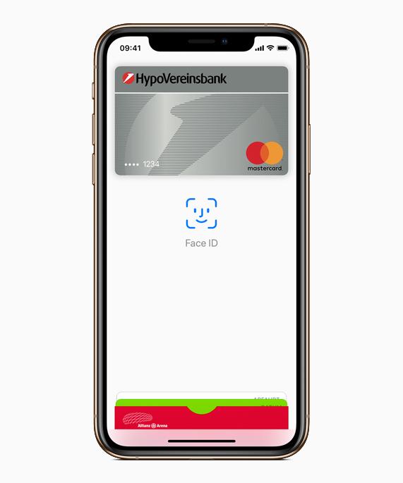 Apple Pay und Face ID auf einem iPhone.