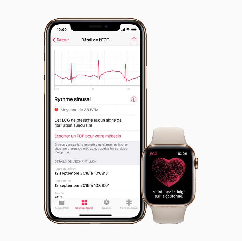 L'app Santé sur l'iPhone et l'Apple Watch.