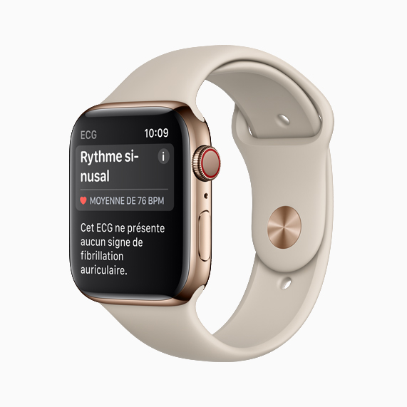 L'Apple Watch Series 4 affichant un rythme sinusal.
