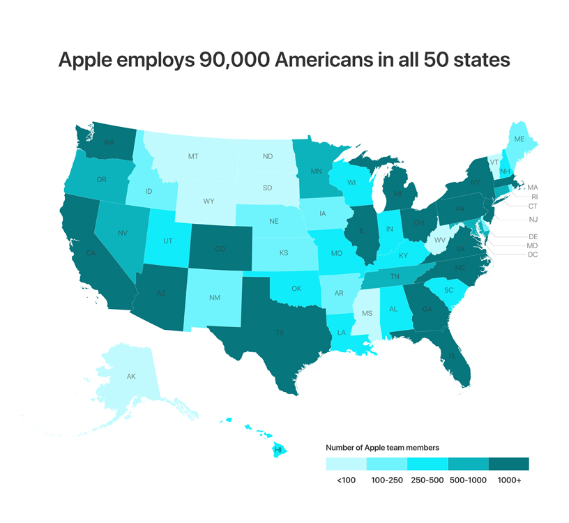 Map of the US showing number of employees per state.