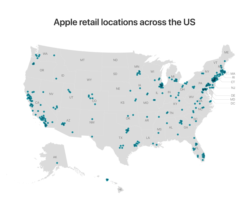 Map showing Apple Store locations across the US.