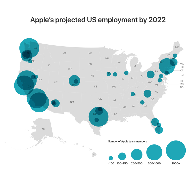 Map of the US showing number of Apple team members at Apple office locations.