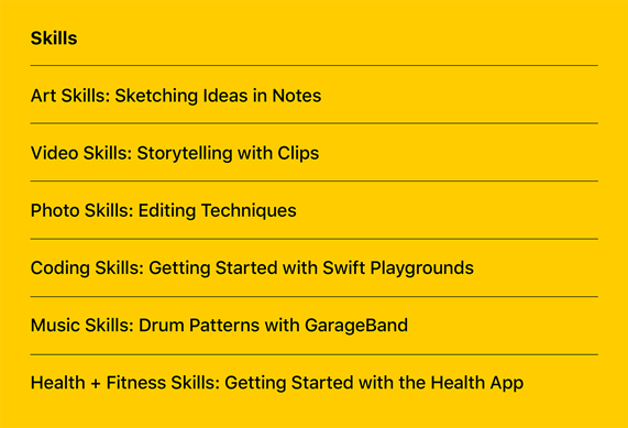 A list of the new Today at Apple Skills sessions.