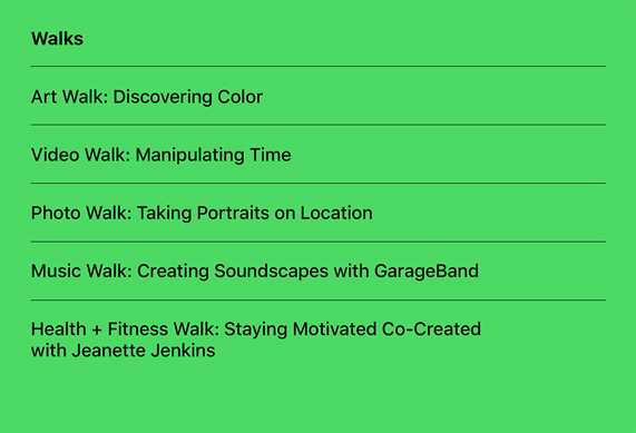 A list of the new Today at Apple Walks sessions.