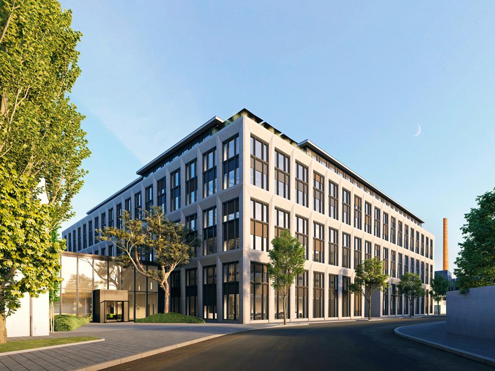 Ein Rendering des neuen Standorts für Chip-Design von Apple in München.