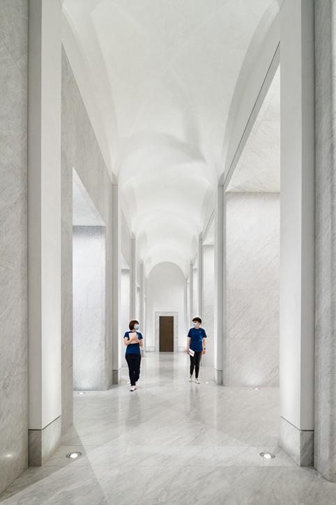 Marble hallway at Apple Via del Corso.